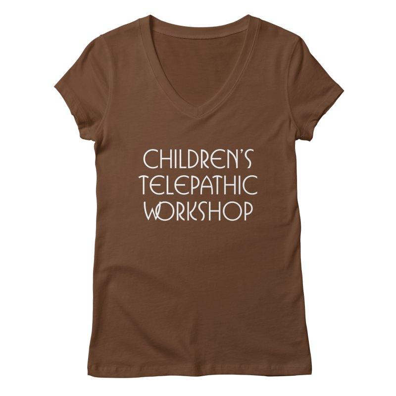 Children's Telepathic Workshop Logo (White / Stacked) Women's Regular V-Neck by Children's Telepathic Workshop