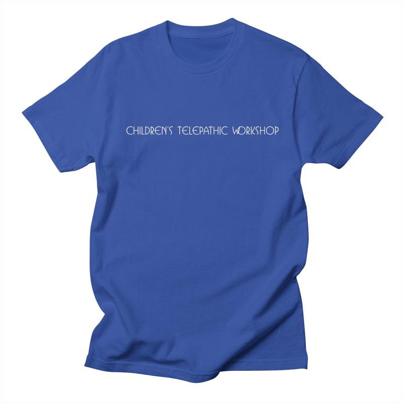 Children's Telepathic Workshop Logo (White / Horizontal) Men's Regular T-Shirt by Children's Telepathic Workshop