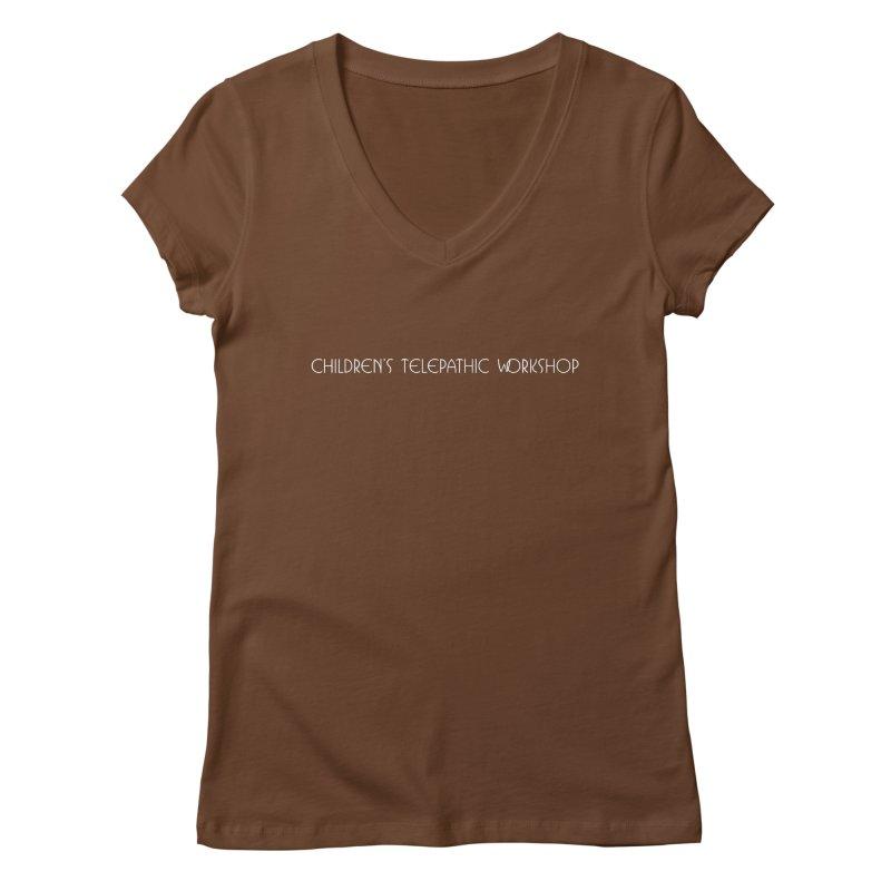 Children's Telepathic Workshop Logo (White / Horizontal) Women's Regular V-Neck by Children's Telepathic Workshop