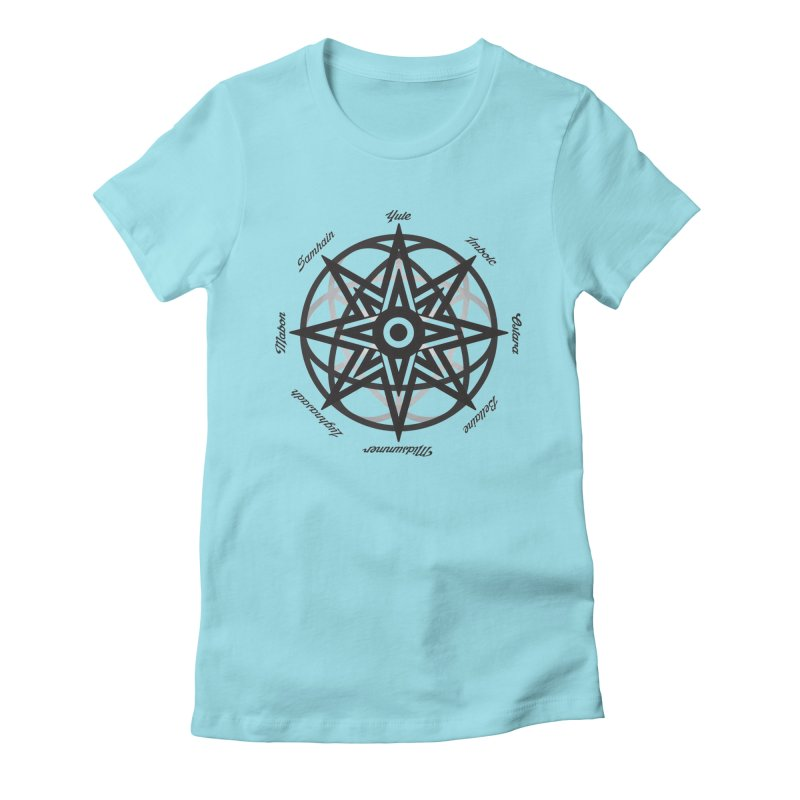 The Wheel of the Year (Pagan Holidays) Women's Fitted T-Shirt by Children's Telepathic Workshop