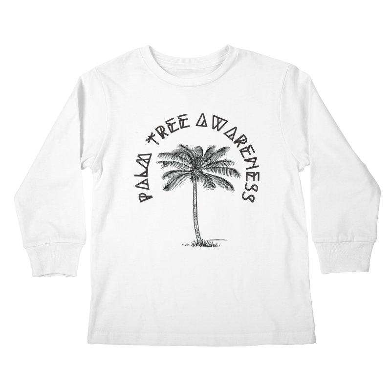 Palm Tree Awareness ( Logo - Black) Kids Longsleeve T-Shirt by Children's Telepathic Workshop