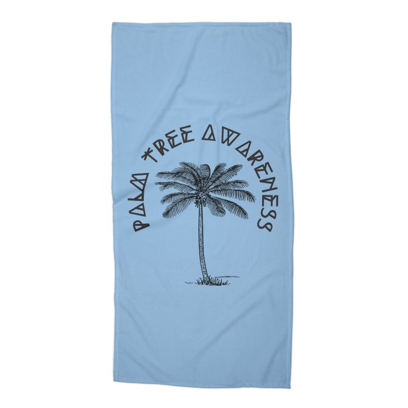 Palm Tree Awareness ( Logo - Black) Accessories Beach Towel by Children's Telepathic Workshop