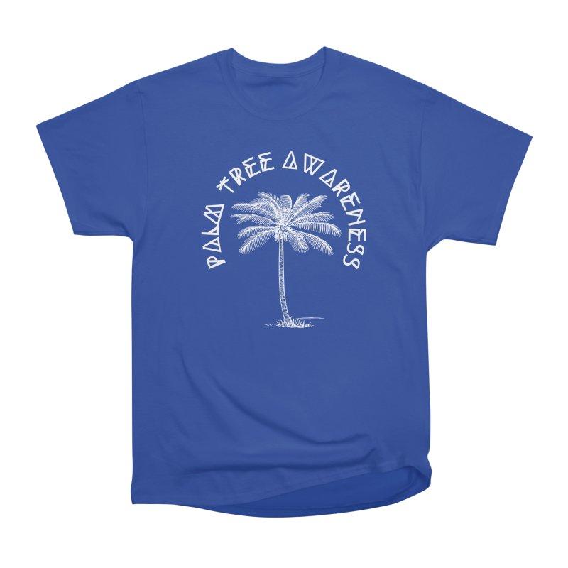 Palm Tree Awareness (Logo - White) Men's Heavyweight T-Shirt by Children's Telepathic Workshop
