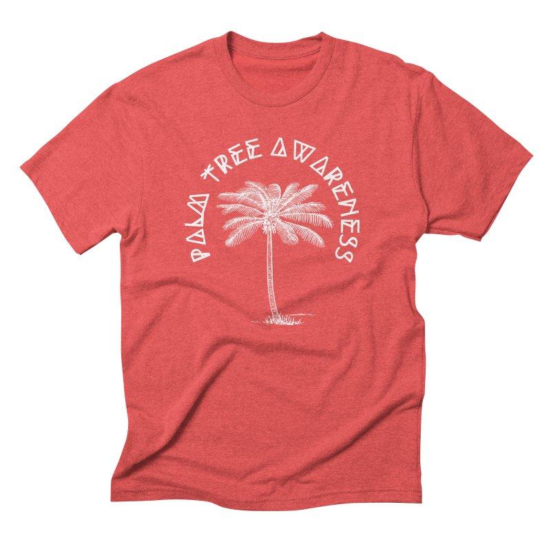 Palm Tree Awareness (Logo - White) Men's Triblend T-Shirt by Children's Telepathic Workshop