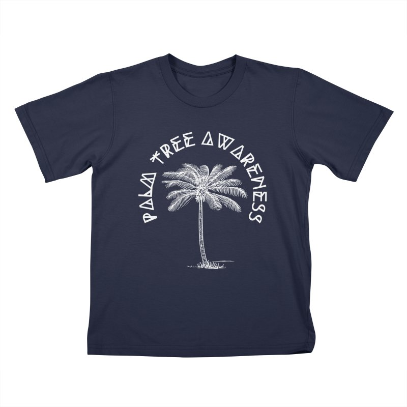 Palm Tree Awareness (Logo - White) Kids T-Shirt by Children's Telepathic Workshop