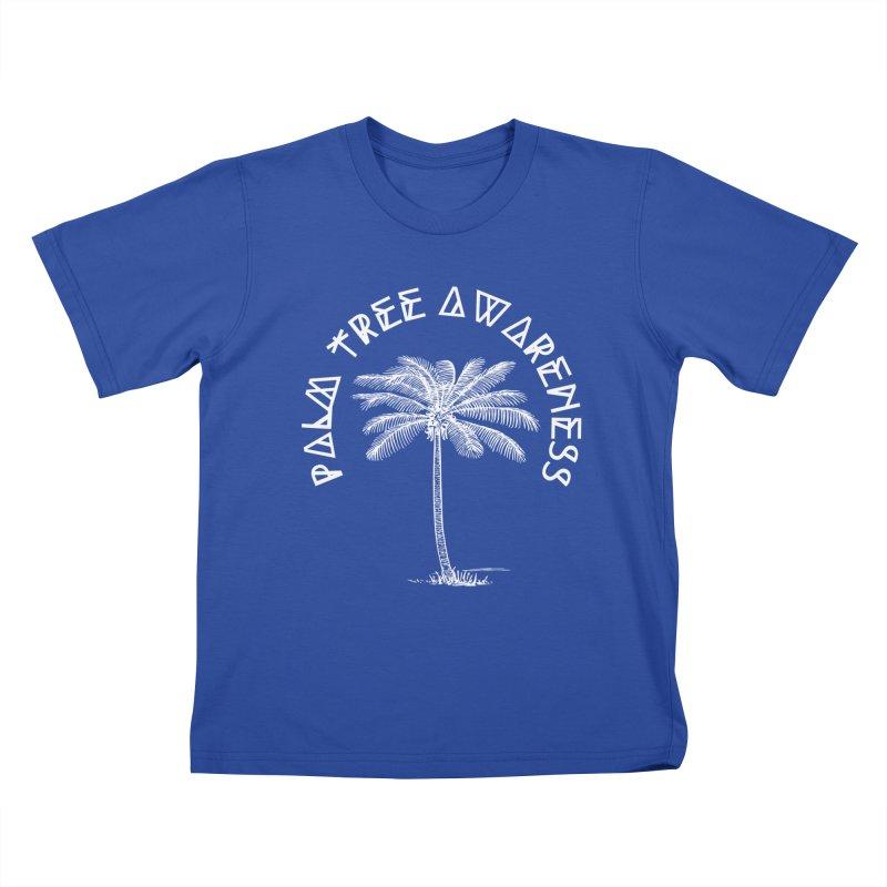 Palm Tree Awareness (Logo - White) Kids T-Shirt by Children's Telepathic Workshop