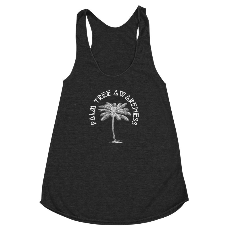 Palm Tree Awareness (Logo - White) Women's Racerback Triblend Tank by Children's Telepathic Workshop
