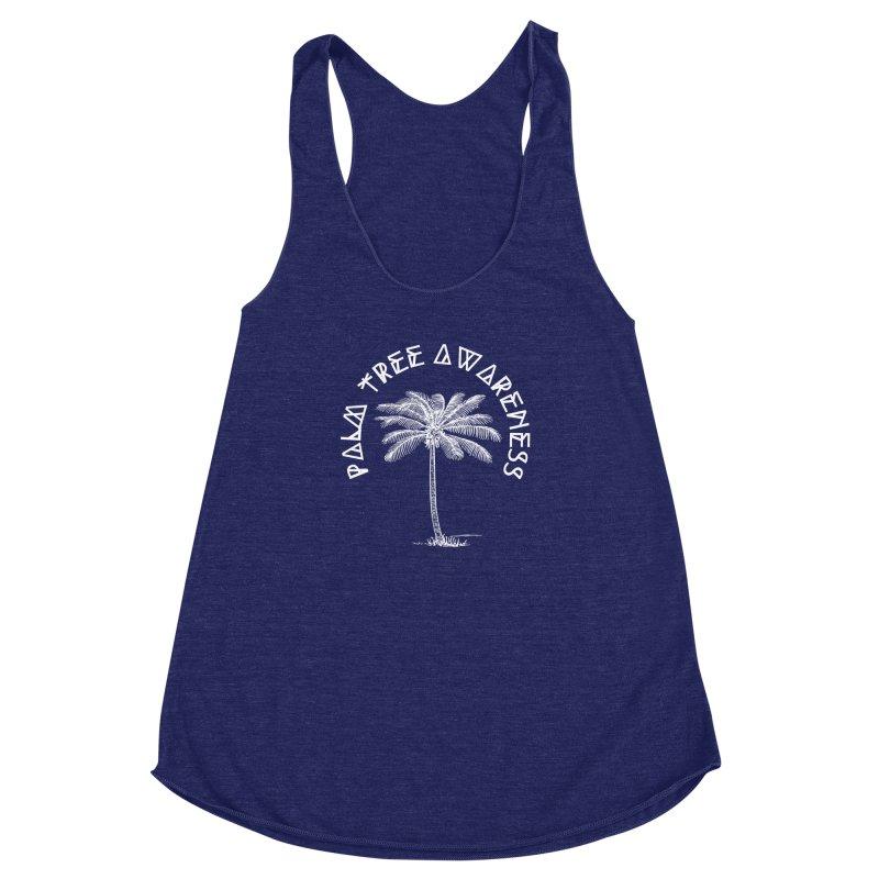 Palm Tree Awareness (Logo - White) Women's Racerback Triblend Tank by Children's Telepathic Workshop