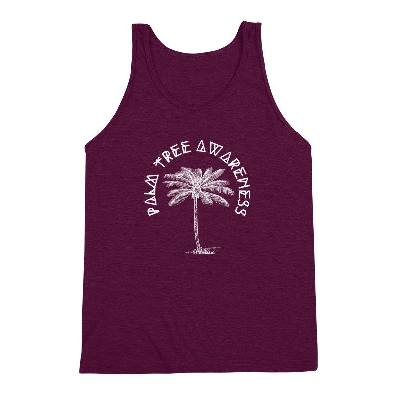 Palm Tree Awareness (Logo - White) Men's Triblend Tank by Children's Telepathic Workshop