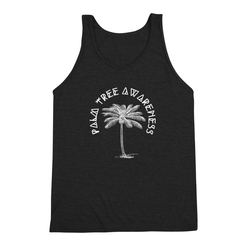 Palm Tree Awareness (Logo - White) Men's Triblend Tank by Children's Telepathic Workshop