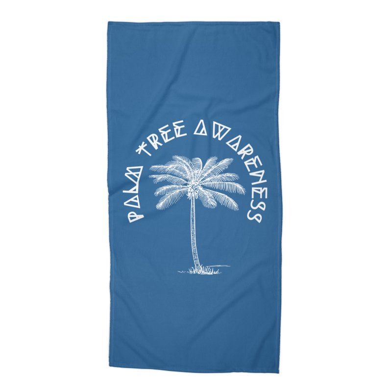 Palm Tree Awareness (Logo - White) Accessories Beach Towel by Children's Telepathic Workshop
