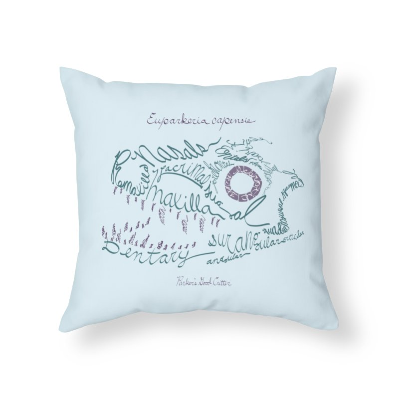 Skull Calligram: Parker's Good Animal (revised) Home Throw Pillow by cubelight's Artist Shop