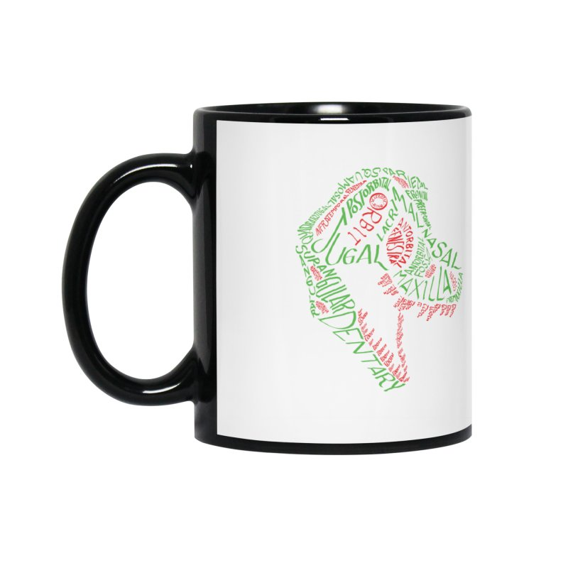 Green and Red Tyrannosaurus Calligram Accessories Mug by cubelight's Artist Shop