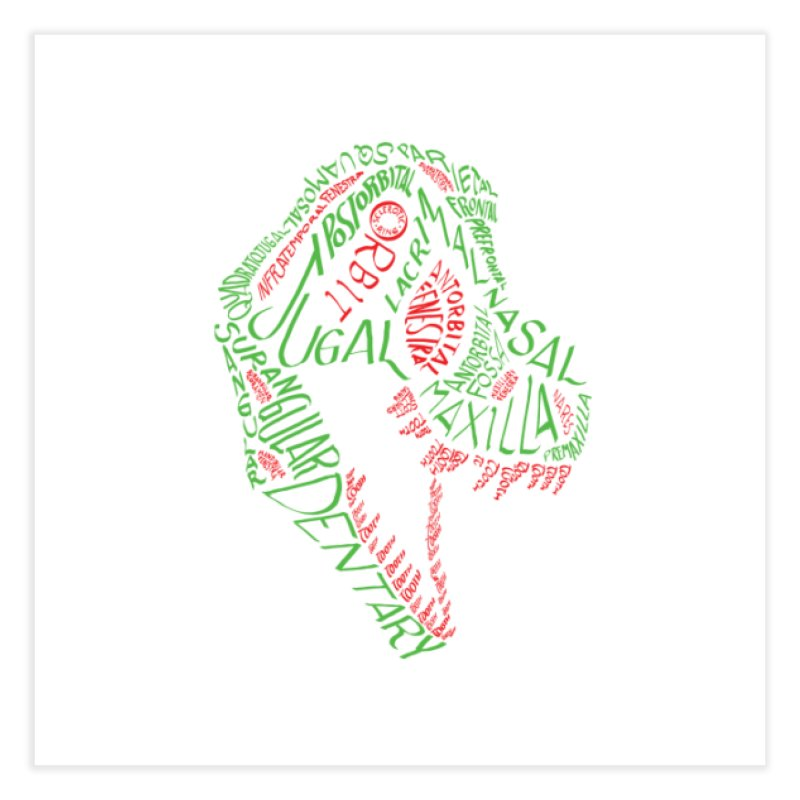 Green and Red Tyrannosaurus Calligram Home Fine Art Print by cubelight's Artist Shop