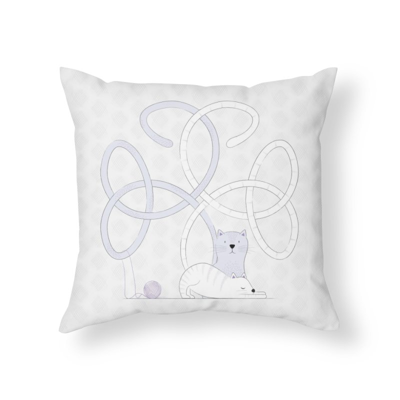Cats Home Throw Pillow by Cumulo 7