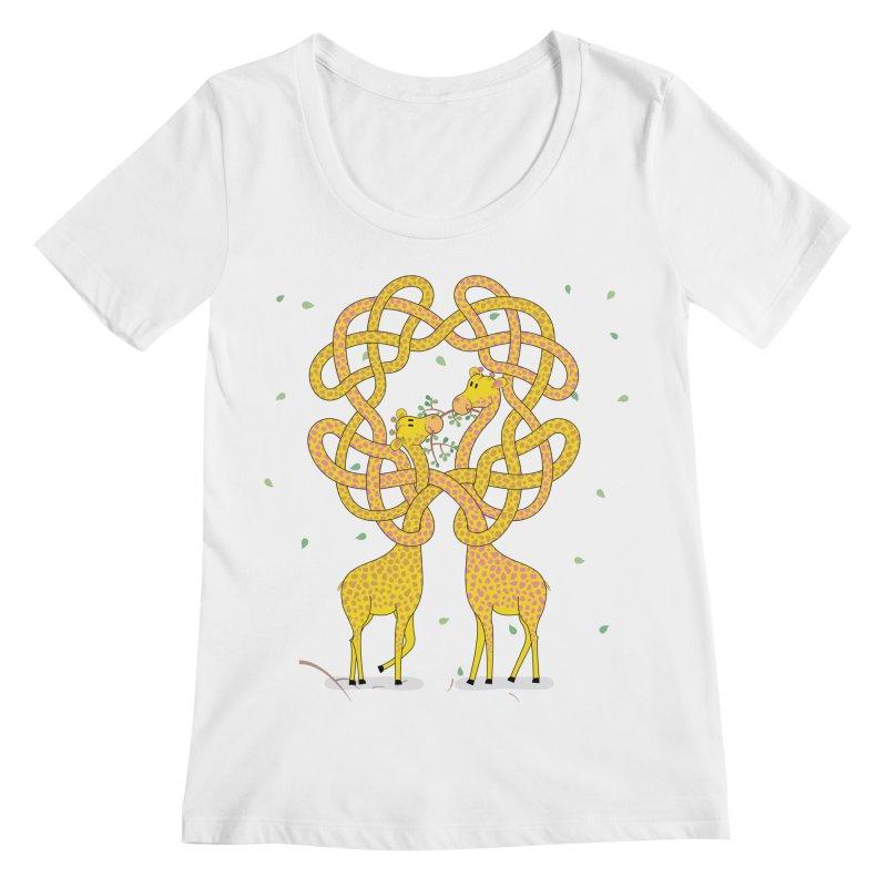 When Giraffes Fight Women's Regular Scoop Neck by Cumulo 7