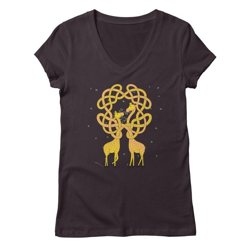 When Giraffes Fight Women's V-Neck by cumulo7's Artist Shop