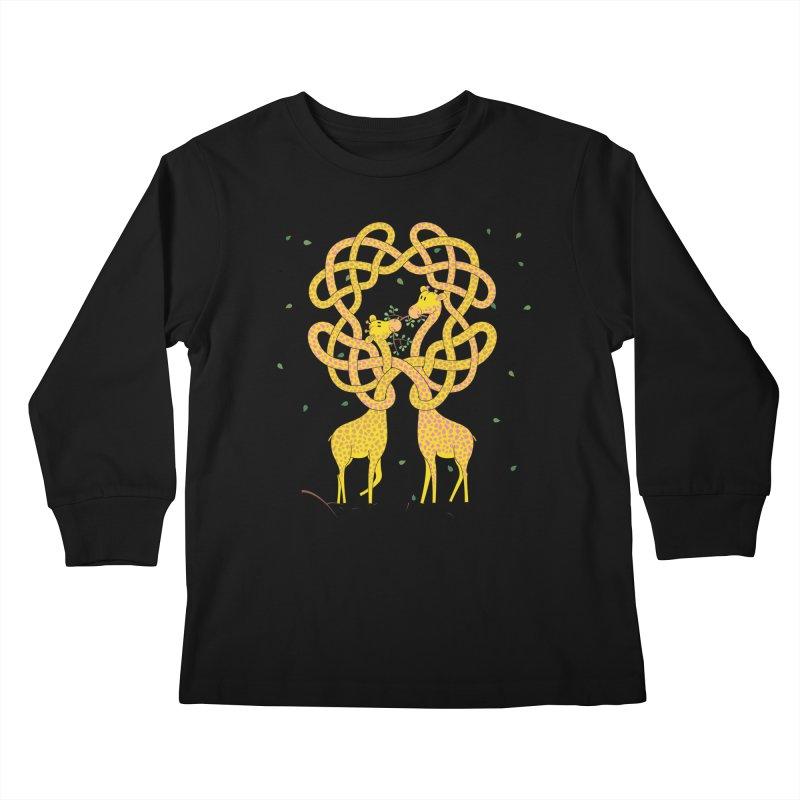 When Giraffes Fight Kids Longsleeve T-Shirt by Cumulo 7