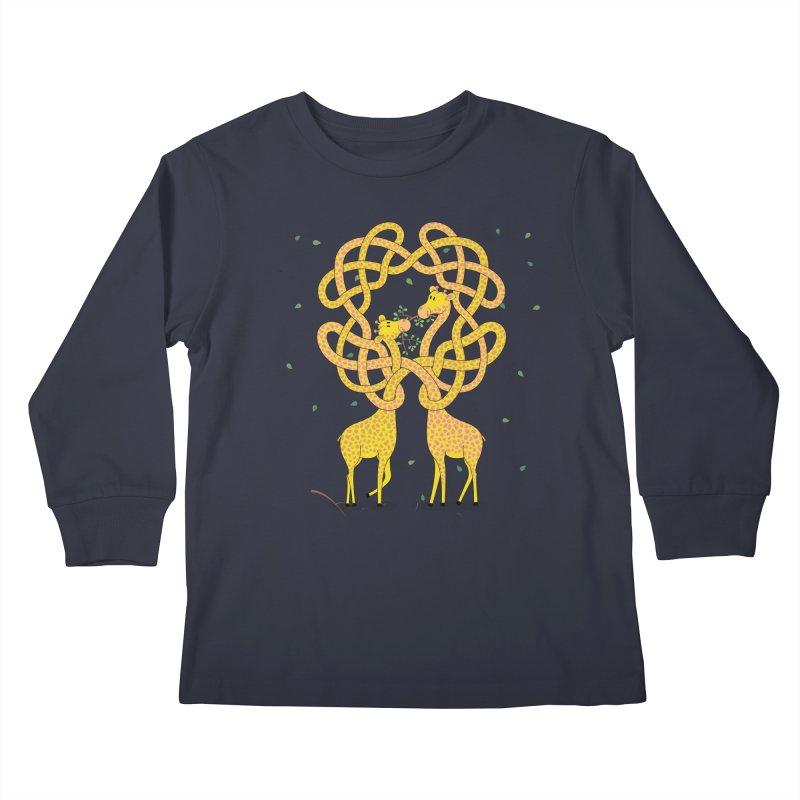 When Giraffes Fight Kids Longsleeve T-Shirt by cumulo7's Artist Shop