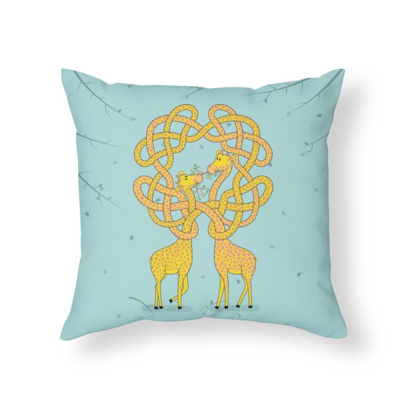 When Giraffes Fight Home Throw Pillow by cumulo7's Artist Shop