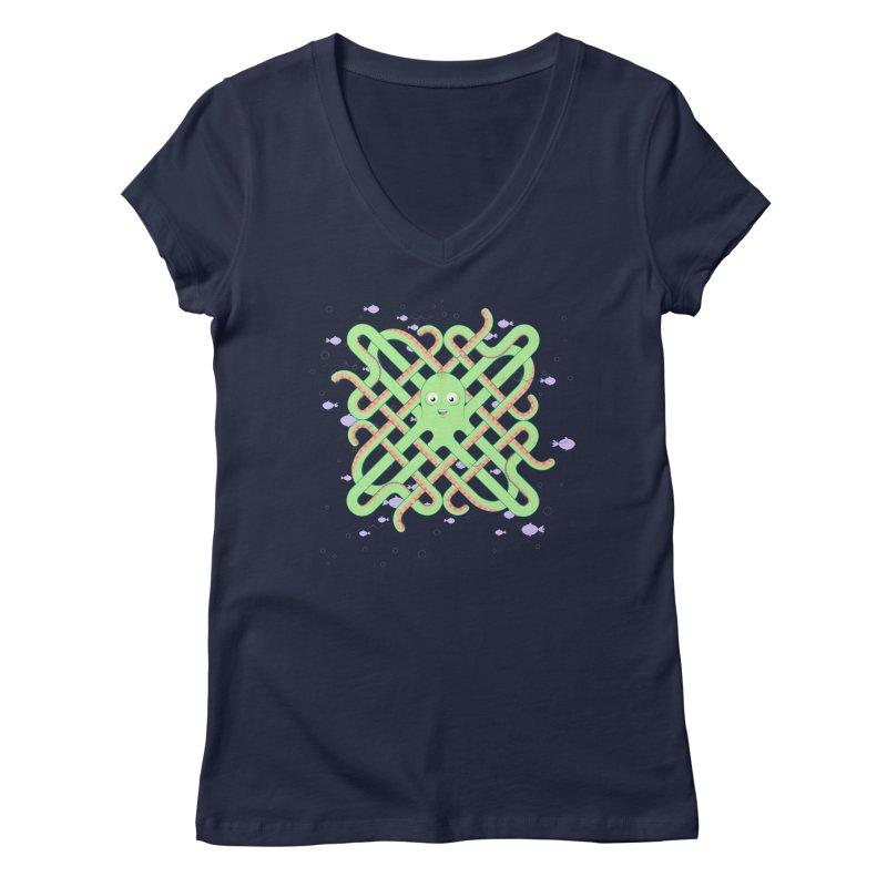 Octopus Women's Regular V-Neck by cumulo7's Artist Shop