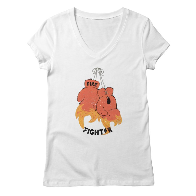 Fire Fighter Women's Regular V-Neck by Cumulo 7