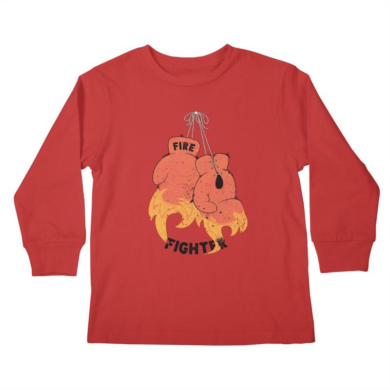 Fire Fighter Kids Longsleeve T-Shirt by Cumulo 7