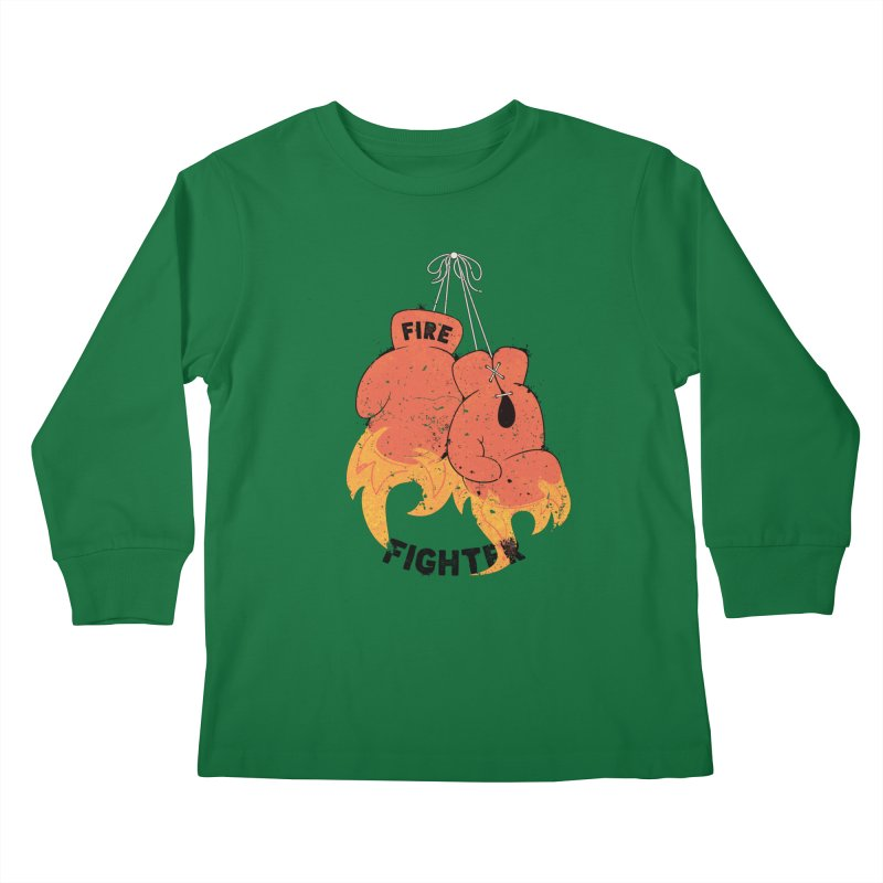Fire Fighter Kids Longsleeve T-Shirt by Cumulo 7