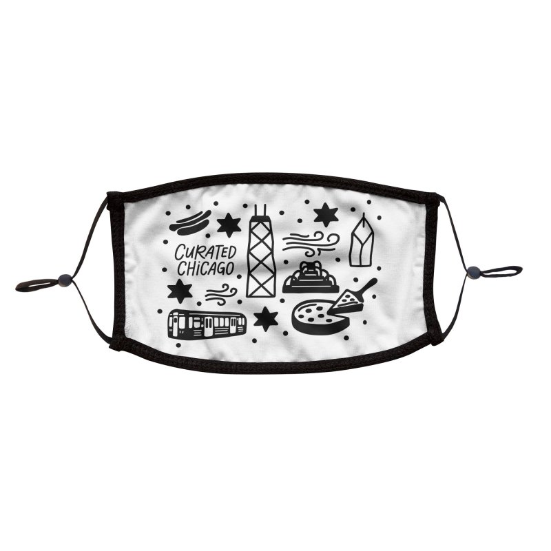 Curated Chicago City Scene black Accessories Face Mask by curatedchicago's Artist Shop