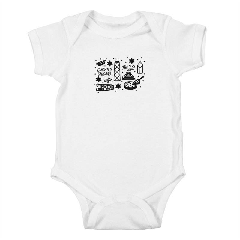 Curated Chicago City Scene black Kids Baby Bodysuit by curatedchicago's Artist Shop