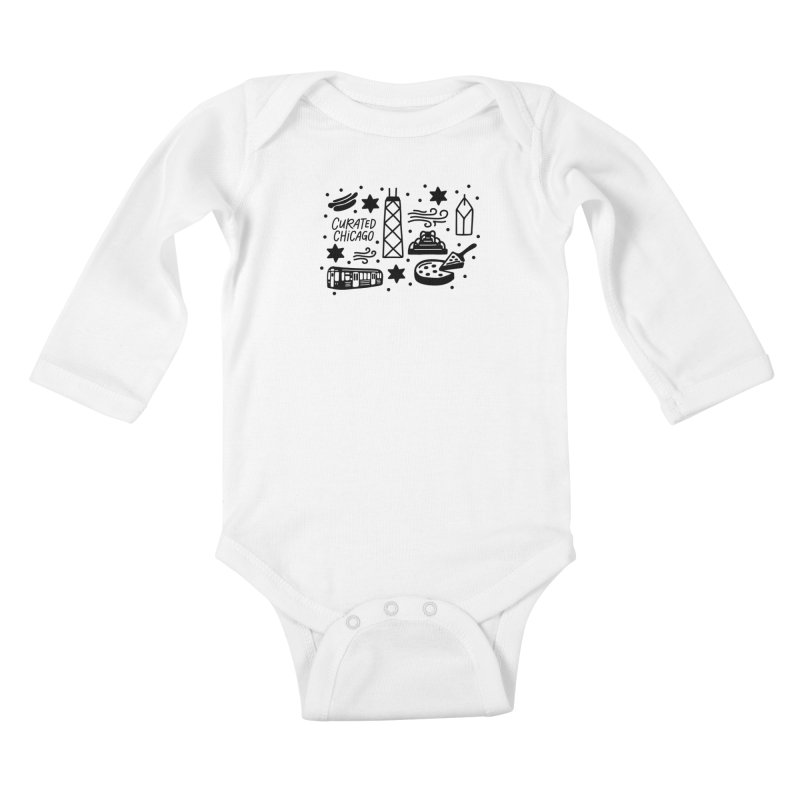 Curated Chicago City Scene black Kids Baby Longsleeve Bodysuit by curatedchicago's Artist Shop