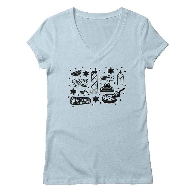 Curated Chicago City Scene black Women's V-Neck by curatedchicago's Artist Shop