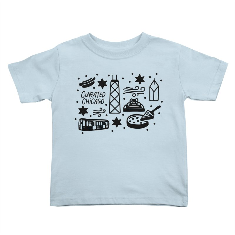 Curated Chicago City Scene black Kids Toddler T-Shirt by curatedchicago's Artist Shop