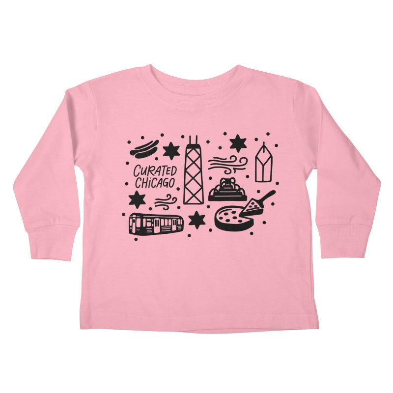 Curated Chicago City Scene black Kids Toddler Longsleeve T-Shirt by curatedchicago's Artist Shop