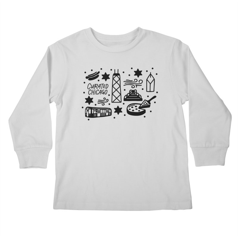 Curated Chicago City Scene black Kids Longsleeve T-Shirt by curatedchicago's Artist Shop