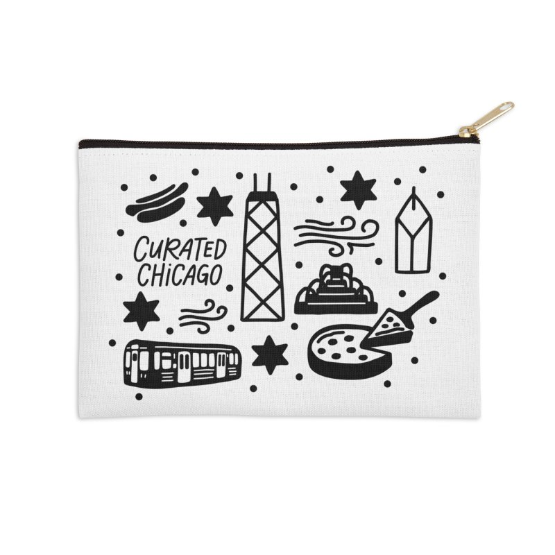 Curated Chicago City Scene black Accessories Zip Pouch by curatedchicago's Artist Shop