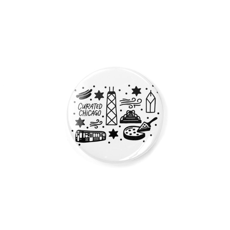 Curated Chicago City Scene black Accessories Button by curatedchicago's Artist Shop