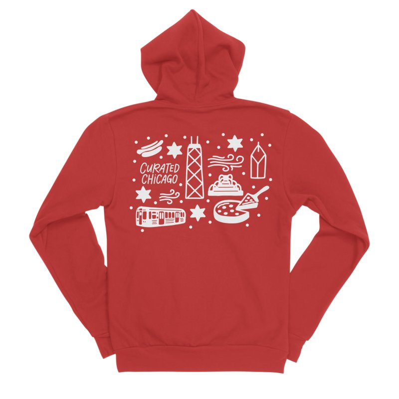 Curated Chicago City Scene white Women's Zip-Up Hoody by curatedchicago's Artist Shop
