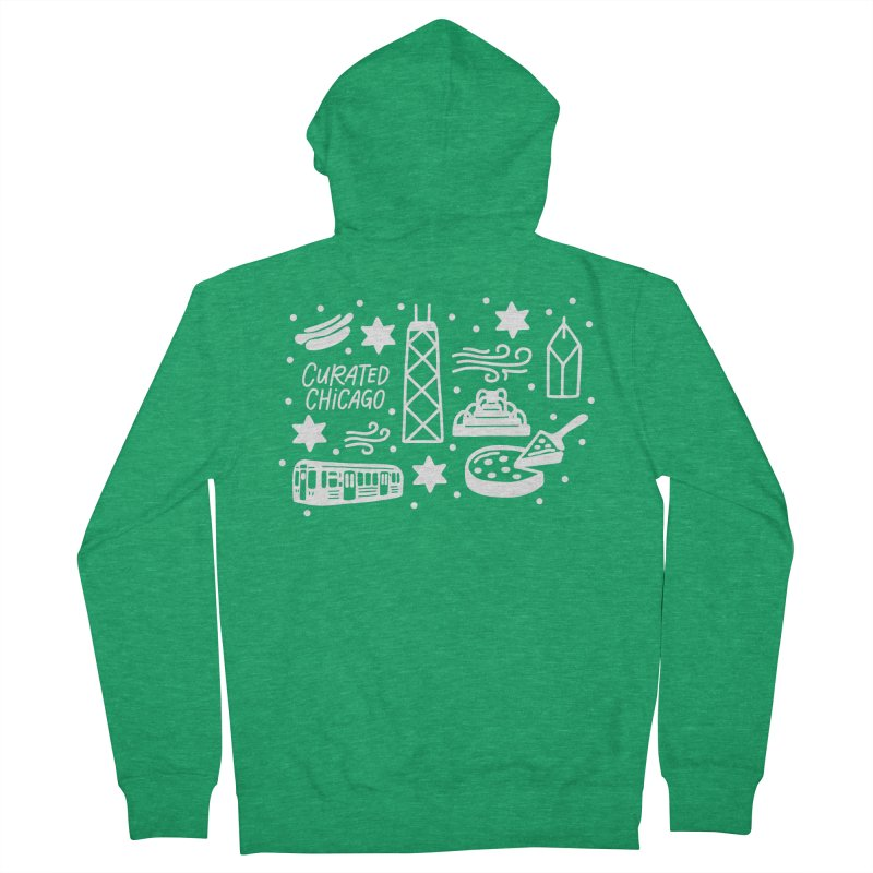 Curated Chicago City Scene white Men's Zip-Up Hoody by curatedchicago's Artist Shop