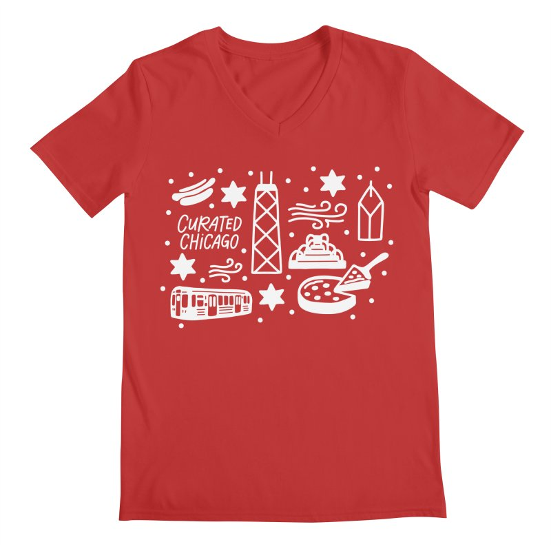 Curated Chicago City Scene white Men's V-Neck by curatedchicago's Artist Shop