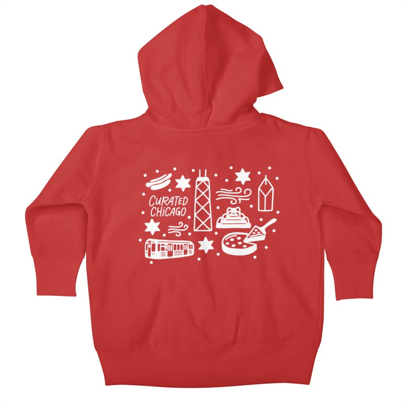 Curated Chicago City Scene white Kids Baby Zip-Up Hoody by curatedchicago's Artist Shop