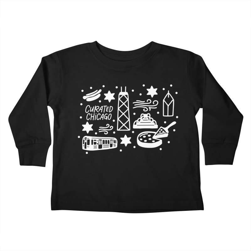 Curated Chicago City Scene white Kids Toddler Longsleeve T-Shirt by curatedchicago's Artist Shop