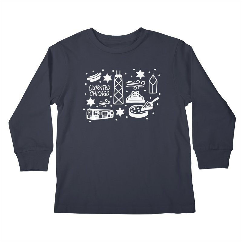 Curated Chicago City Scene white Kids Longsleeve T-Shirt by curatedchicago's Artist Shop