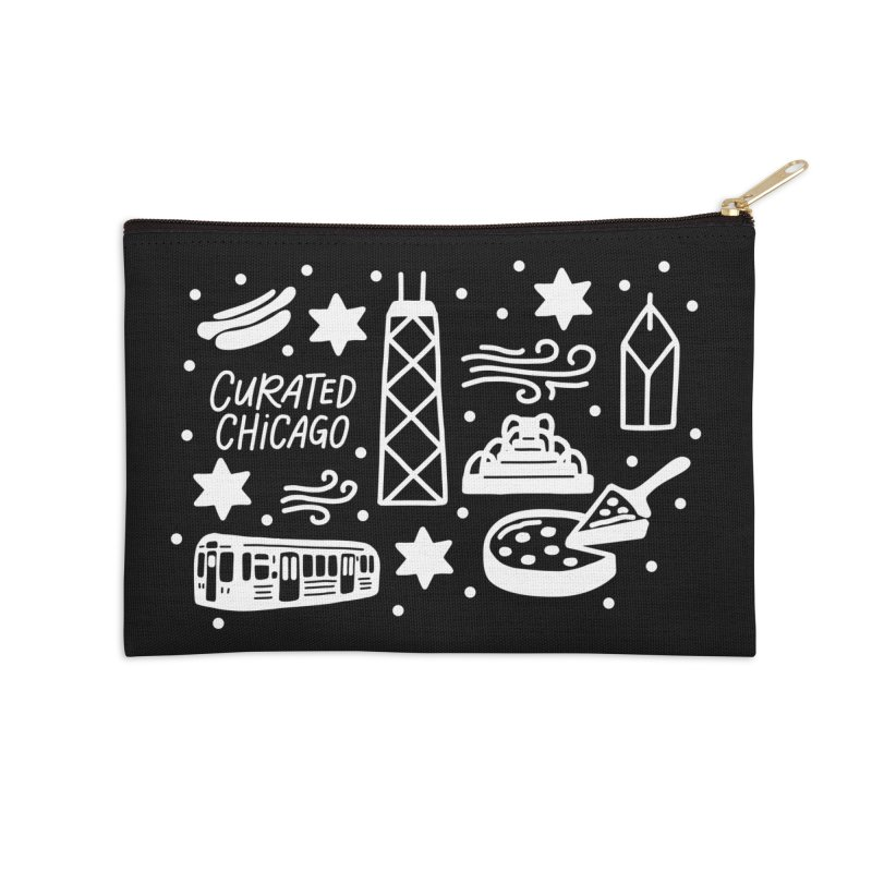 Curated Chicago City Scene white Accessories Zip Pouch by curatedchicago's Artist Shop