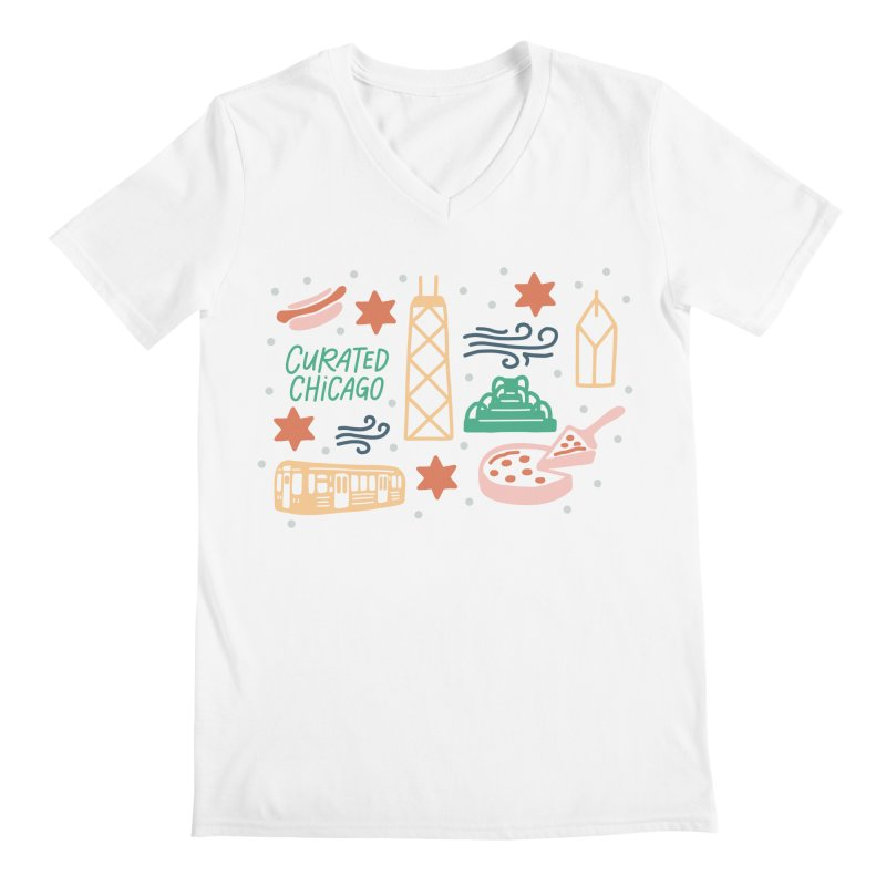 Curated Chicago City Scene color Men's V-Neck by curatedchicago's Artist Shop