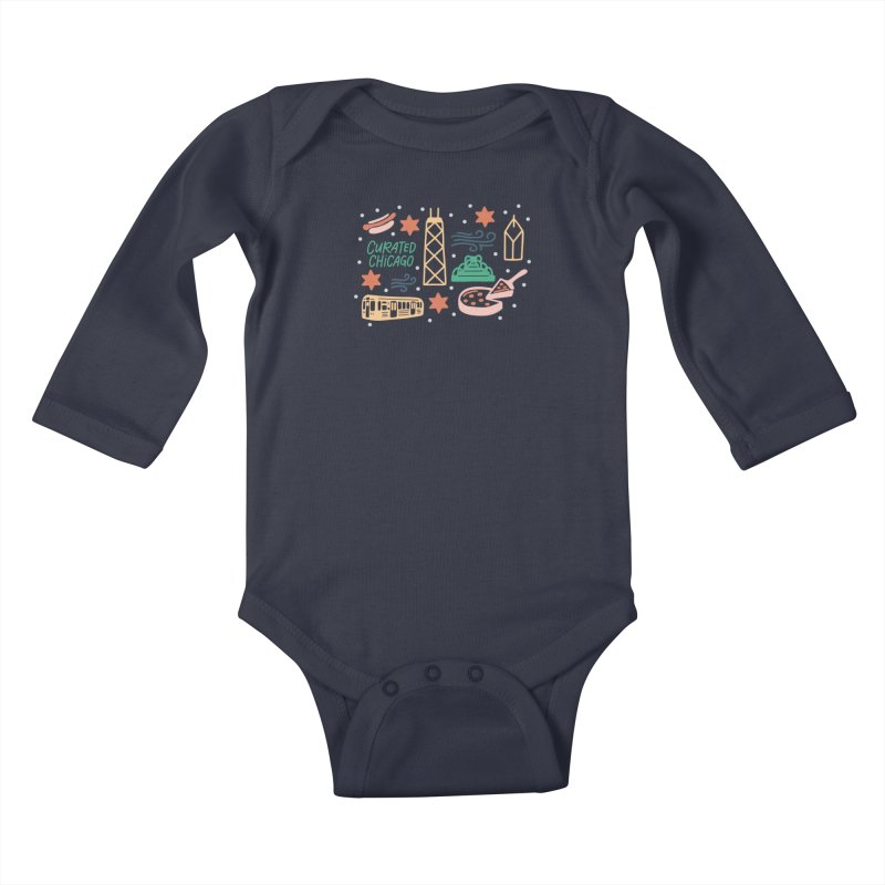 Curated Chicago City Scene color Kids Baby Longsleeve Bodysuit by curatedchicago's Artist Shop