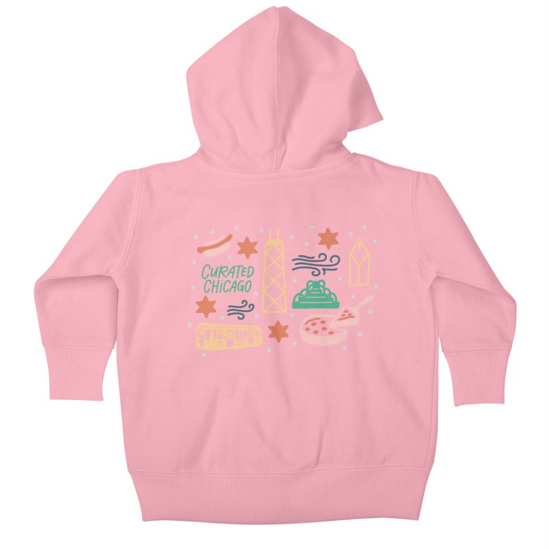 Curated Chicago City Scene color Kids Baby Zip-Up Hoody by curatedchicago's Artist Shop