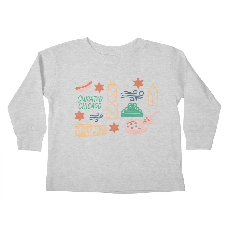 Curated Chicago City Scene color Kids Toddler Longsleeve T-Shirt by curatedchicago's Artist Shop