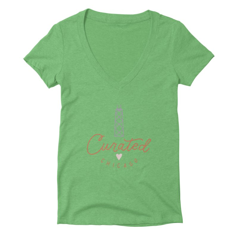 Curated Chicago Logo color Women's V-Neck by curatedchicago's Artist Shop