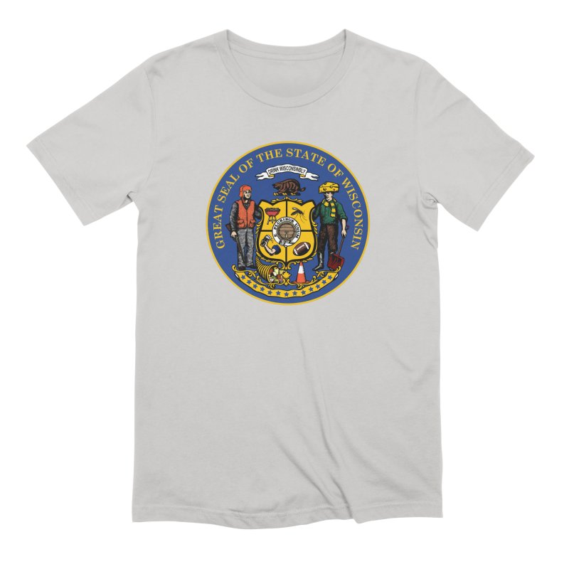 Great Seal of the State of Wisconsin Men's Extra Soft T-Shirt by Curly & Co.